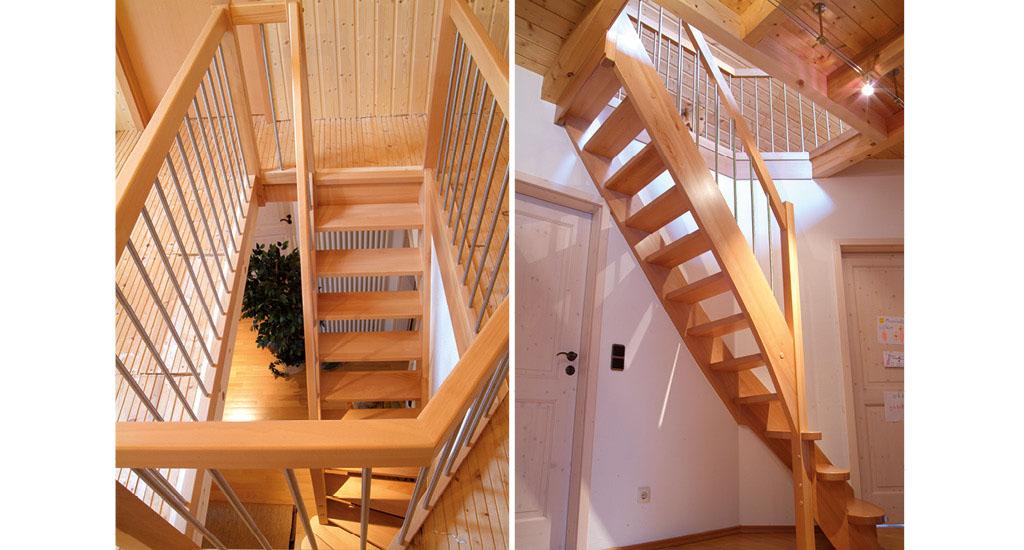 treppe aus holz metall qm ausstellung in. Black Bedroom Furniture Sets. Home Design Ideas